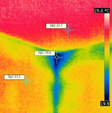 Air Leakage Testing Thermal Image Corner of room