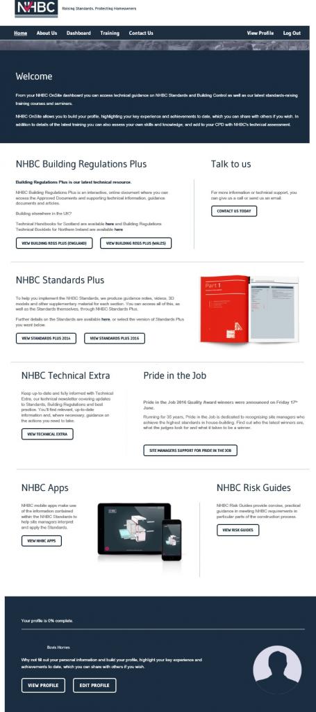 NHBC OnSite Dashboard