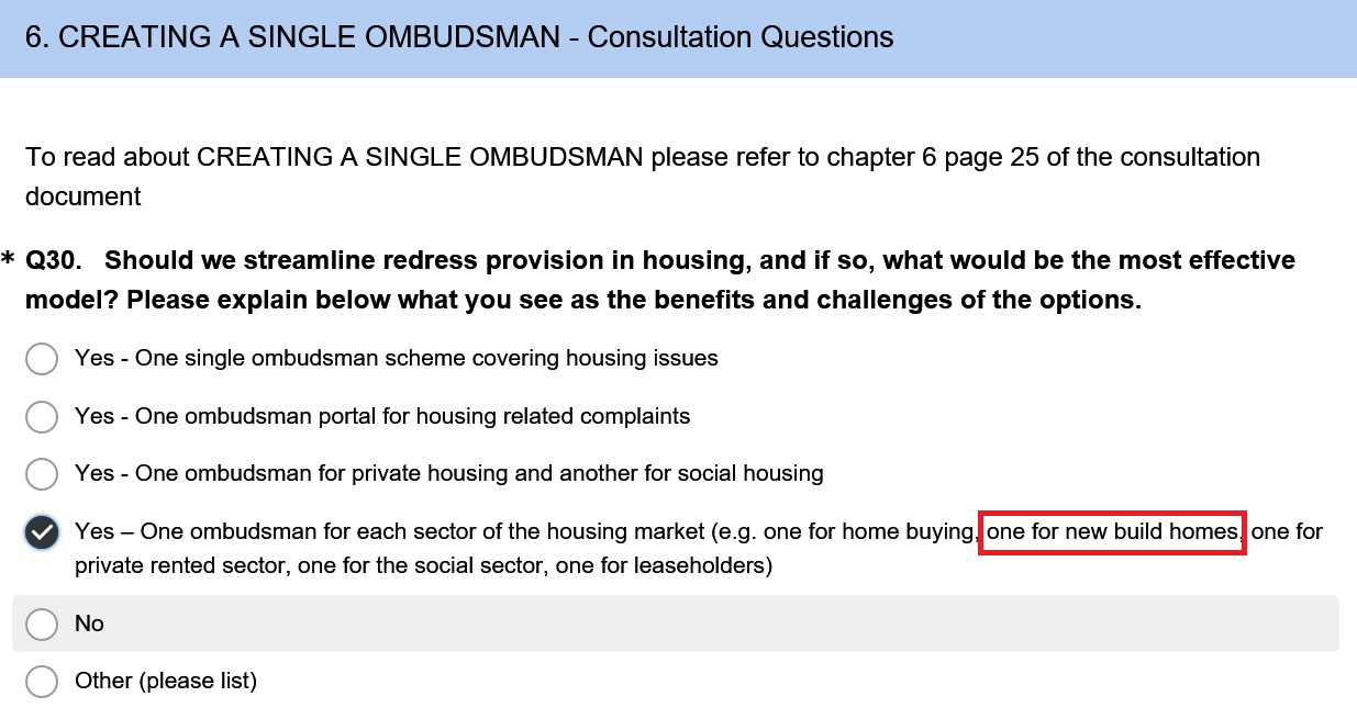 A separate New Homes Ombudsman