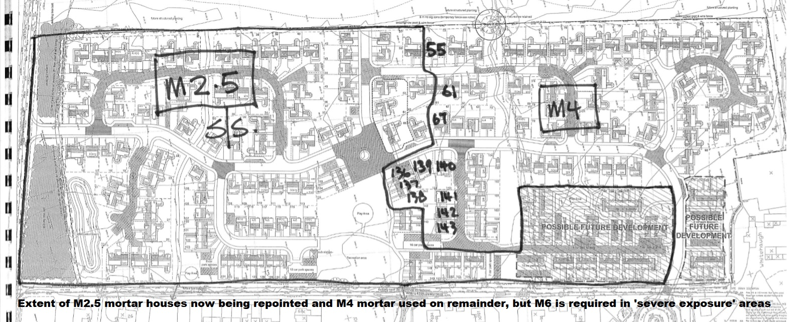 Peebles site plan showing extent of homes Taylor Wimpey built using incorrect M2.5 mortar